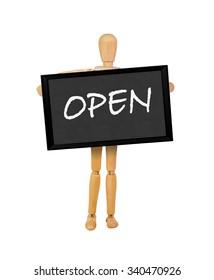 mannequin holding a  blank blackboard stating 'open'