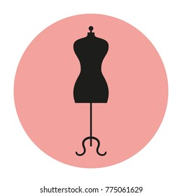 Mannequin icon on pink background. Rasterized Copy.