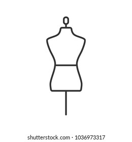 Mannequin linear icon. Thin line illustration. Tailor's dummy. Contour symbol. Raster isolated outline drawing