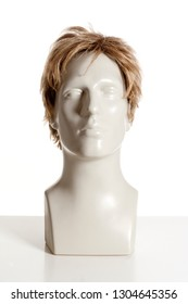 Mannequin Male Head with Wig on White
