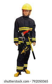 mannequin in overalls rescue units insulated on white background