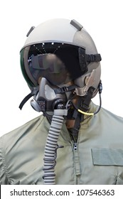 Mannequin of pilot with helmet and mask.