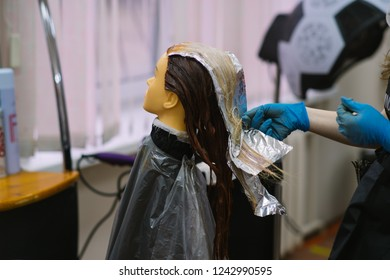 mannequin for practicing the skills of a hairdresser, hair coloring