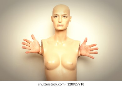 mannequin with real hands.