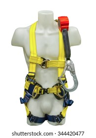 Mannequin in safety harness equipment and lanyard for work at heights isolated on a white background