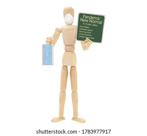 Mannequin wearing face holding Pandemic New Normal Chalkboard Sign