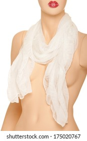 Mannequin with white scarf