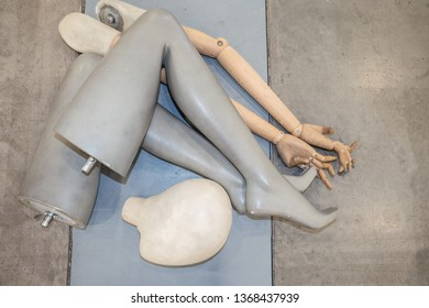 Mannequin workshop. Limbs mannequin. Disassembled dummy. Dummy parts. Making mannequins to order. Demonstration equipment. Fragments of the arms and legs of the dummy.