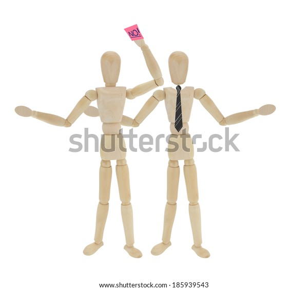 Mannequins demonstrating a form of Sexual Harassment isolated on white background