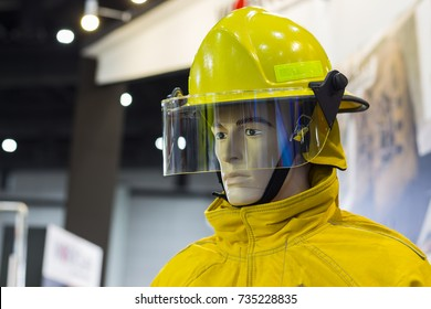 mannequins with fire fighting suit;Personal Protection Equipment PPE;selective focus