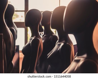 Mannequins stand in row Model pattern Fashion Industry