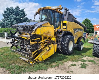 MANNERSDORF, AUSTRIA - JULY 29: Combine harvester, a modern agricultural equipment used in Lower Austria, on July 29, 2020 in Mannersdorf, Austria