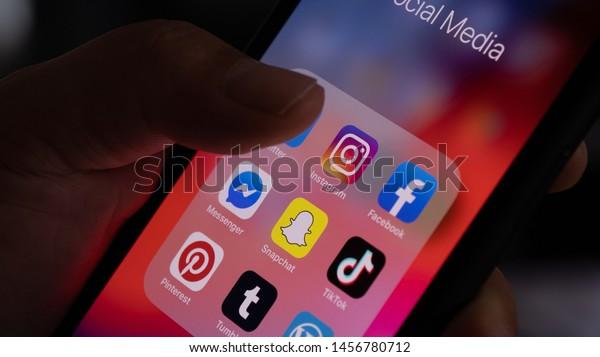 Mannheim - Baden Württemberg / Germany  07.21.2019: Close Up of Smartphone Display with Social Media Application Icons, Instagram, Facebook, Messenger, Pinterest, Tumblr