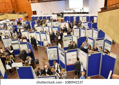 Mannheim, Germany - April 5, 2018: Poster presentation at the German cardiologist congress in Mannheim