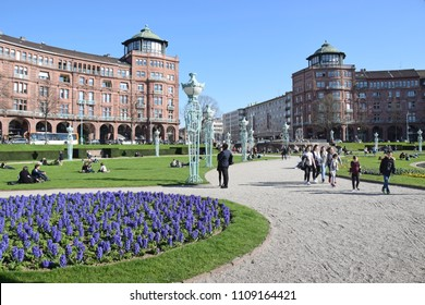 Mannheim, Germany - April 6, 2018: Spring in the Mannheim rose garden