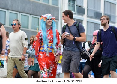 Mannheim, Germany - August 2019: Young woman dressed up with 'Hatsune Miku' cosplay from software voicebank 'Vocaloid' in Mannheim during anual anime and manga convention