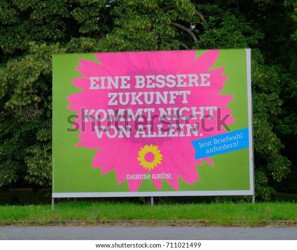 Mannheim, Germany - August 21, 2017: Election campaign billboard of German political Green party. Die Grünen is the German environmentalist political party