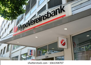 Mannheim, Germany - August 23, 2017: Hypovereinsbank branch. UniCredit Bank Aktiengesellschaft, better known as its brand name Hypovereinsbank, is the fifth-largest of German financial institutions