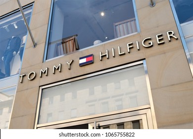 Mannheim, Germany - August 23, 2017: Tommy Hilfiger sign. Tommy Hilfiger Corporation is a manufacturer of clothing. It produces and sells sporting men's and women clothing. Its office is in Amsterdam