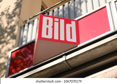 Mannheim, Germany - August 23, 2017: Bild sign outside a newsstand. The Bild newspaper (or Bild-Zeitung) is a German tabloid published by Axel Springer AG from Monday to Saturday
