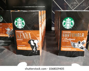 Mannheim, Germany - August 24, 2017: Starbucks coffee for sale. Starbucks Corporation is an American coffee company and the largest coffeehouse company in the world