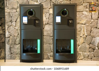 MANNHEIM, GERMANY - AUGUST 28 : Reverse Vending Machine for people put and return empty bottle into machinery for exchange money at supermarket on August 28, 2017 in Mannheim, Germany