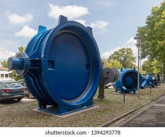 Mannheim, Germany - August 6 2017: Giant butterfly valve made by VAG Group (Vereinigte Armaturen Gesellschaft mbH)