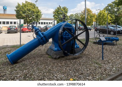 Mannheim, Germany - August 6 2017: Rotary pump, to be operated with a transmission belt and fittet with shut off valve made by VAG Group (Vereinigte Armaturen Gesellschaft mbH)