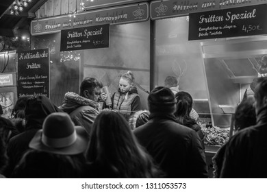 Mannheim, Germany, December 2018 - Christmas market in black and white image.