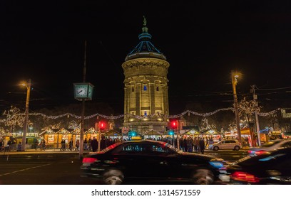 Mannheim, Germany, December 2018 - Christmas market park in the city.