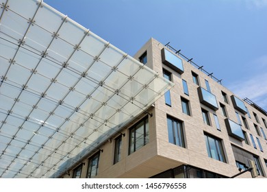 Mannheim, Germany - July 2019: Glass roof connecting buildings of big shopping center called 'Q6 Q7' in Mannheim city