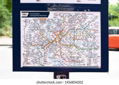 Mannheim, Germany - July 2019: Map of all bus and streetcar lines in the cities of Mannheim and Ludwigshafen