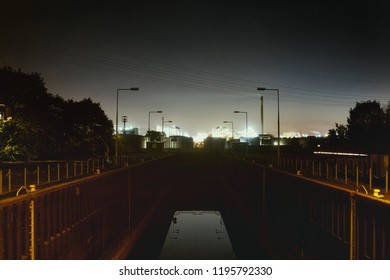 Mannheim Germany lock water industry night lights reflexion chemical