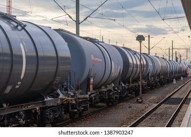 Mannheim, Germany - Mai 23 2018: Tank rail cars of WASCOSA AG, a swiss company, leading in rail car rental. Those tank cars, developed in 2002, are compatible in all european countries.