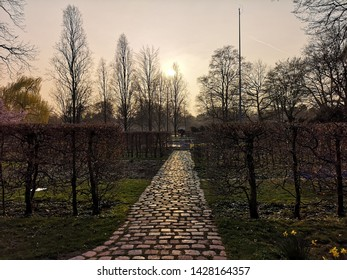 """Mannheim, Germany - March 23, 2019: Lovely atmosphere in Luisenpark. It is the largest park in Mannheim. Lot of activities with the slogan: """"one of the most beautiful parks in Europe""""."""