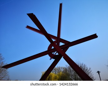 Mannheim, Germany - March 23,2019: Red Industrial Sculpture at the TECHNOSEUM in Mannheim with its extraordinary architecture is considered to be trailblazing for modern museum construction.