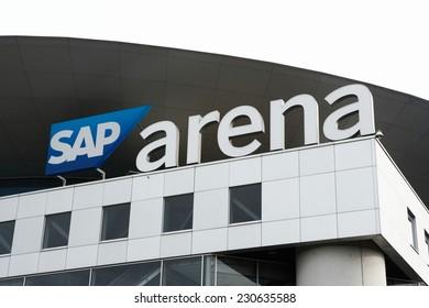 Mannheim, Germany - November 9, 2014: SAP arena in Mannheim. Multi purpose indoor stadium with a capacity of 15.000, opened in 2005. The stadium is used for sports events and concerts.