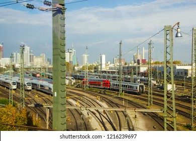 Mannheim/ Germany - October 16 2018: Red waggons of the Deutsche Bahn trains on railways