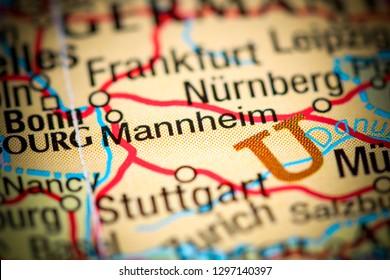 Mannheim. Germany on a map