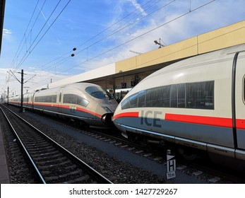 Mannheim, Baden-Württemberg,Germany - Jun 15th 2019: Inter City Express (ICE) train of Deutschland Bahn at Mannheim Train Station.