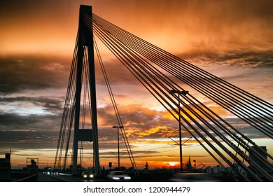 Mannheim Ludwigshafen Germany Bridge red dramatic sky siluette