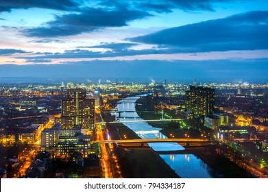 Mannheim Ludwigshafen Skyline, Germany