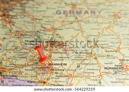 Mannheim Pinned On Map Germany Stock Photo Edit Now 564229219