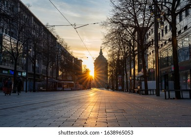 Mannheim at sunset at 08.02.2020 in winter, watertower and cityscape