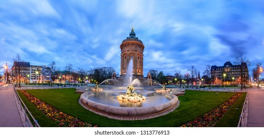 Mannheim water tower with fountain in the foreground