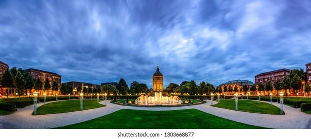 Mannheim water tower on Friedrichsplatz with water fountains
