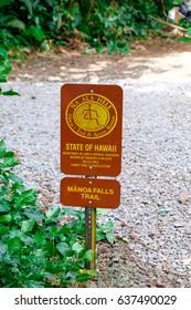 MANOA FALLS, HAWAII - FEBRUARY 20, 2017: Trailhead sign at Manoa Falls Trail in Oahu, Hawaii.