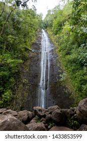 Manoa Falls Waterfall, Lyon Arboretum, Oahu, Hawaii, USA