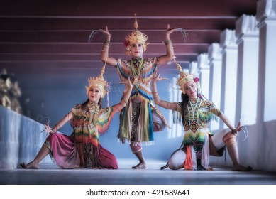 Manohra models: MANOHRA is folk dance in South of Thailand at Temple in Surat Thani Province, Thailand