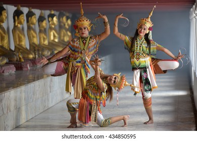 Manohra models : MANOHRA is folk dance in South of Thailand at Temple in Surat Thani Province, Thailand